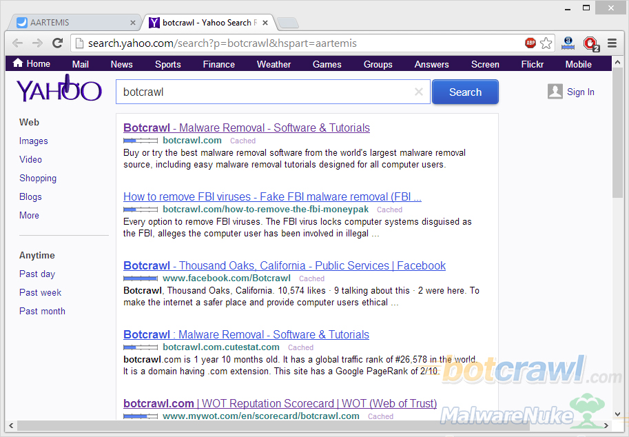 aartemis search redirect