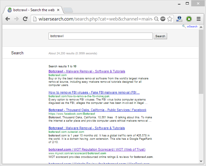 remove wSearch hijacker