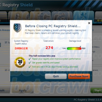 PC Registry Shield pop-up