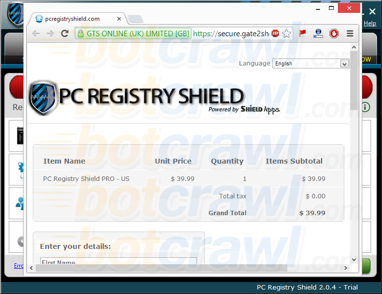 buy PC Registry Shield website pop-up