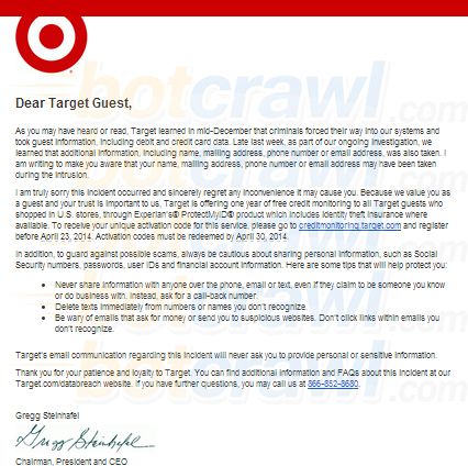 Important message from Target to our guests email