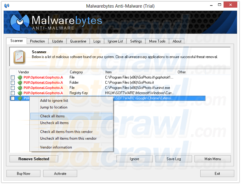 PUP.Optional.GoPhoto.A malwarebytes