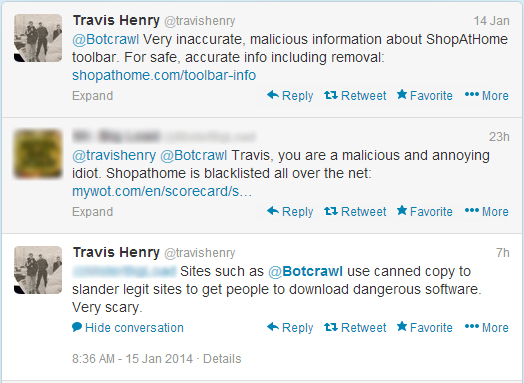 Travis Henry ShopAtHome Twitter Spam