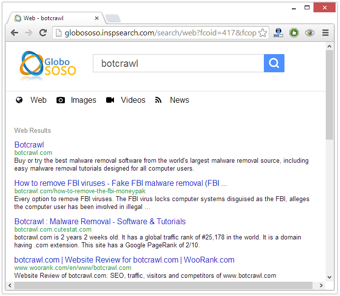 inspsearch redirect virus