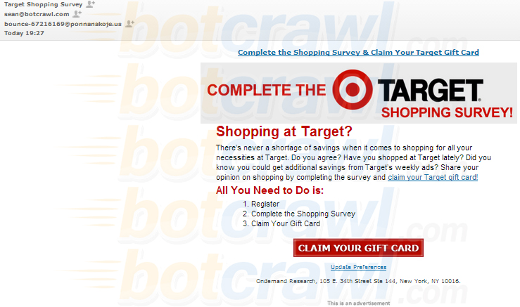 Warning: Target Shopping Survey email scam