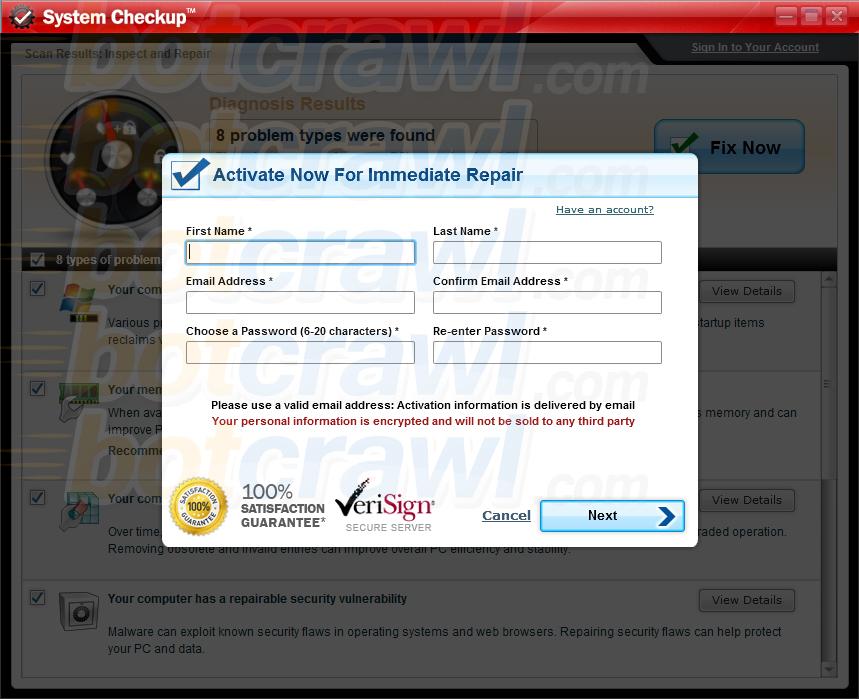 System Checkup malware