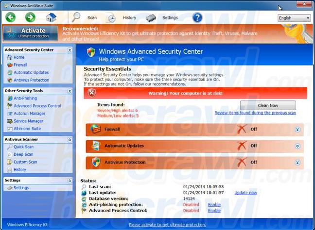 Windows AntiVirus Suite virus
