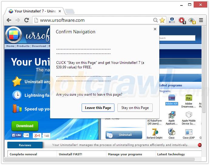 Your Uninstaller pop-up