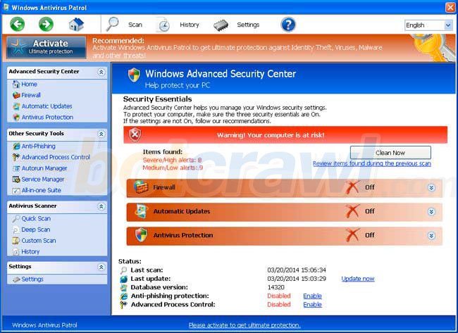 Windows Antivirus Patrol virus removal
