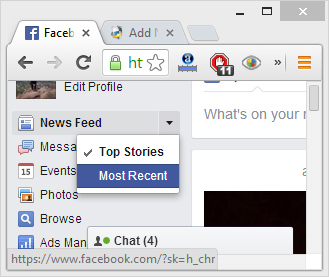 How to change Facebook News Feed to Most Recent or Top Stories