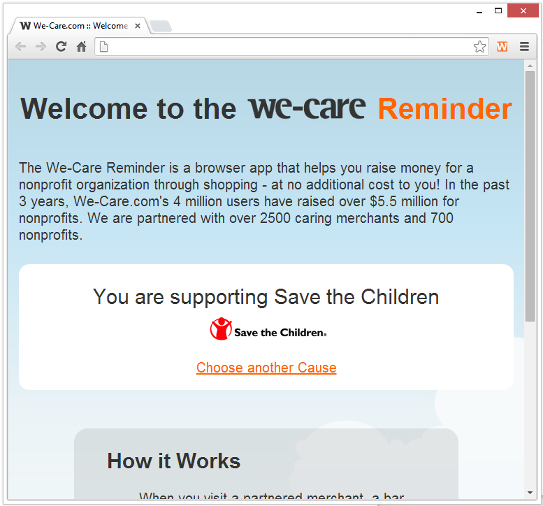 remove save the children we care reminder