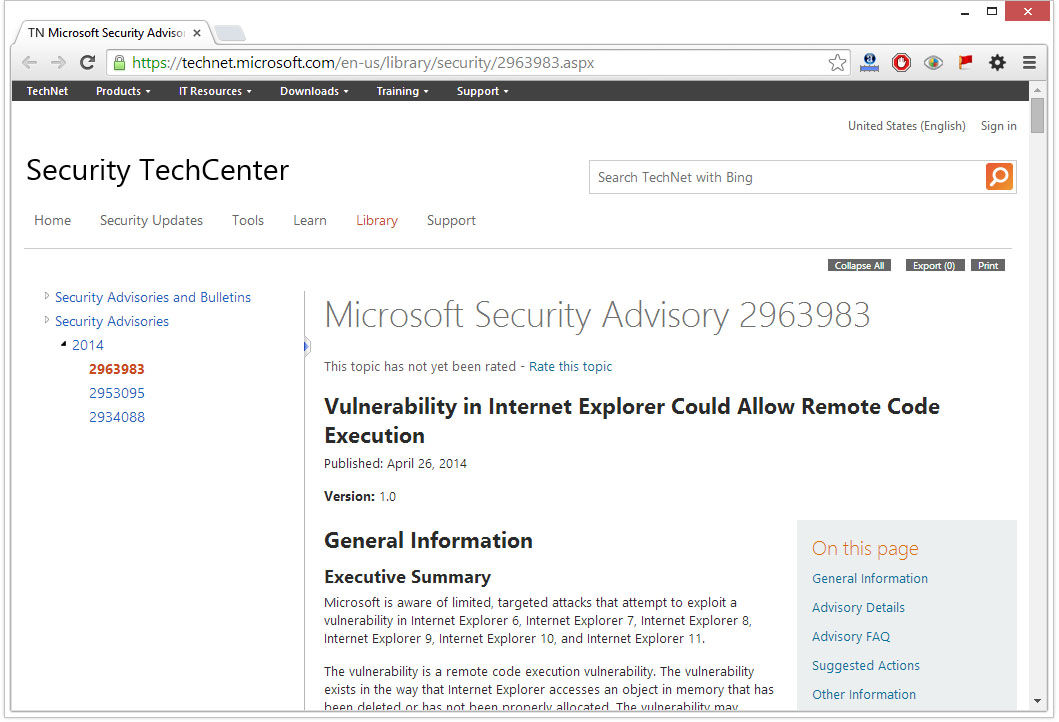 security flaw internet explorer 2014