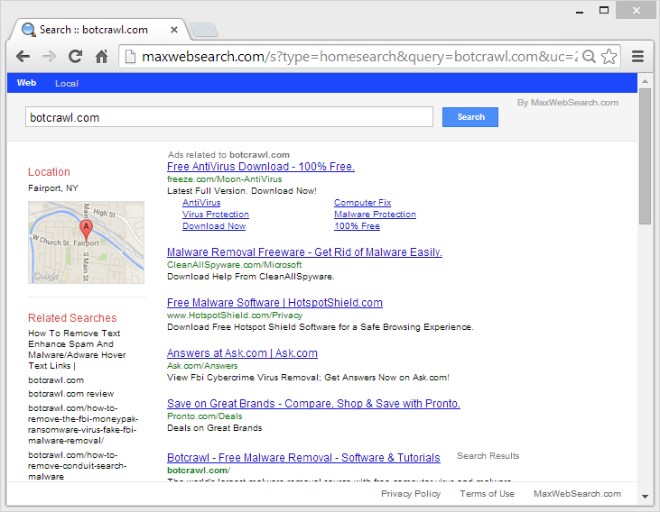 websearchy redirect homepage removal
