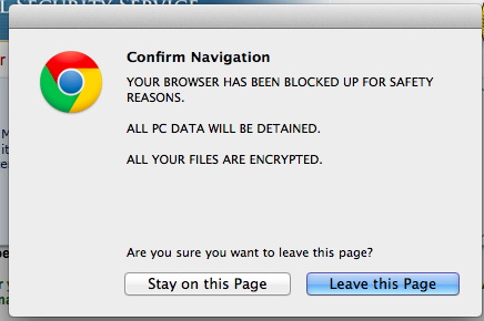 Confirm Navigation pop-up virus