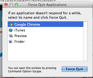 Force Quit Applications Chrome