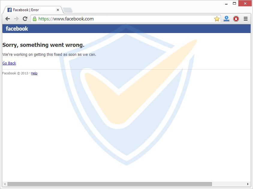 sorry, something went wrong Facebook down
