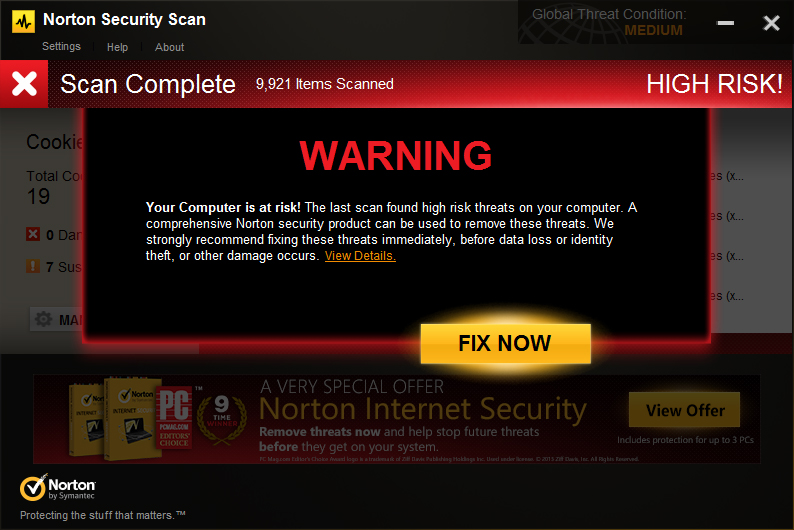 Norton Security Scan HIGH RISK WARNING message
