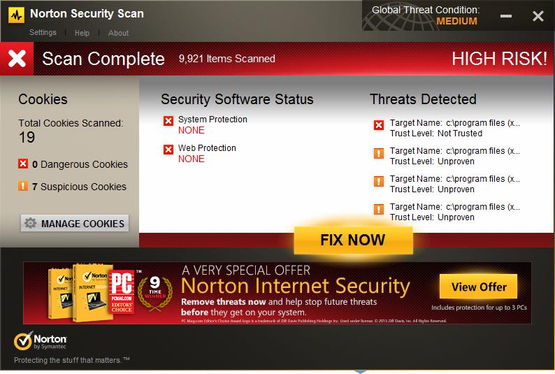 remove Norton Security Scan