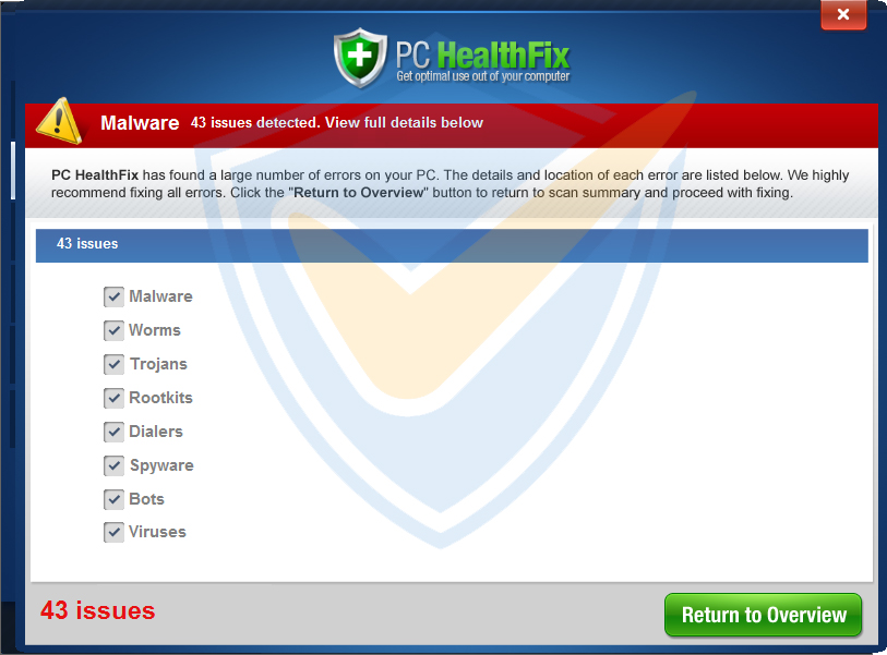 PC HealthFix scan