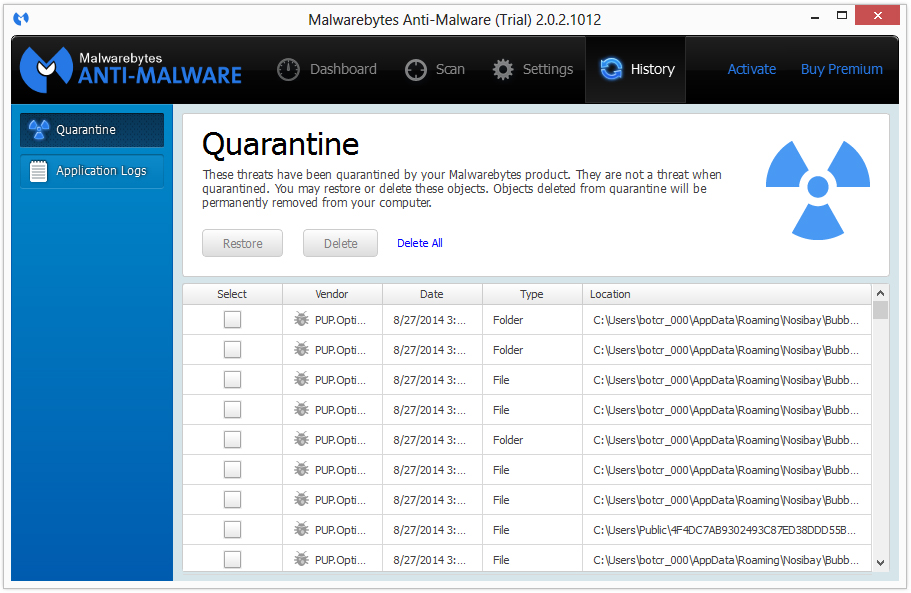 malwarebytes quarantine log