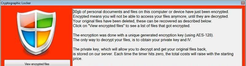 Cryptographic Locker virus
