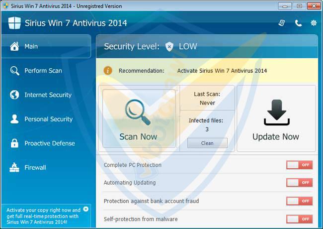 Sirius Vista Antivirus 2014