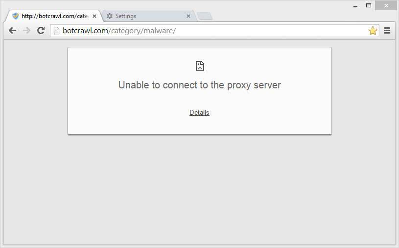 Unable to connect to the proxy server fix