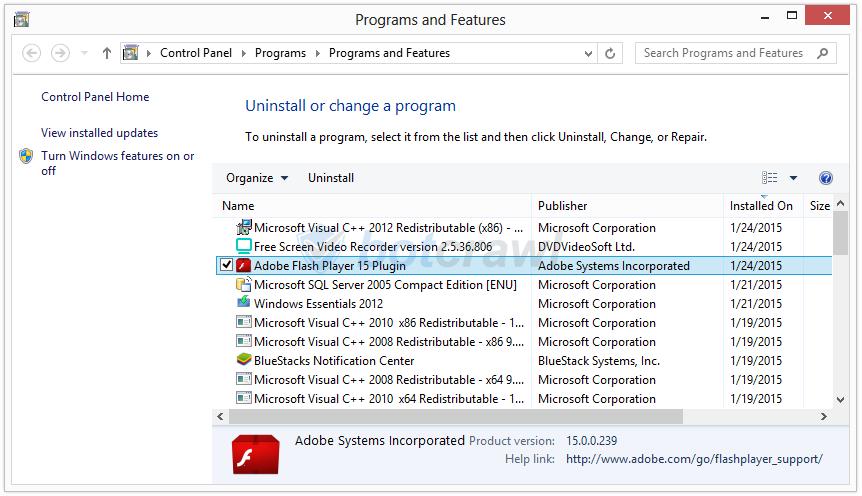 Adobe Flash Player 15 Plugin virus