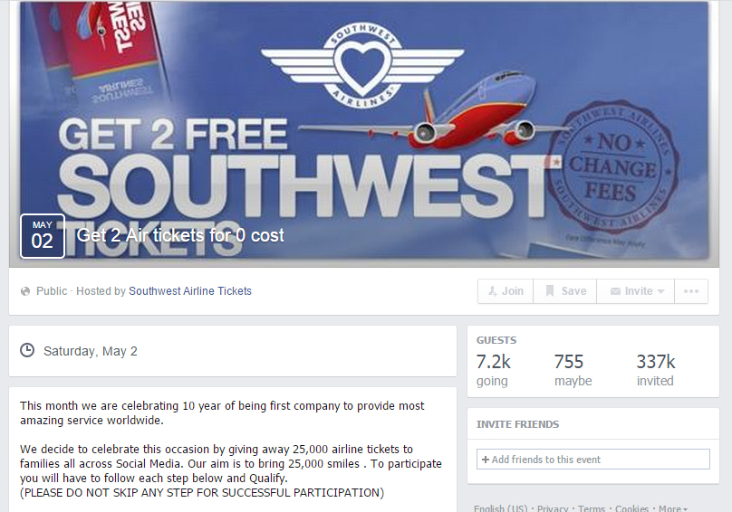 Southwest Airlines Facebook Scams