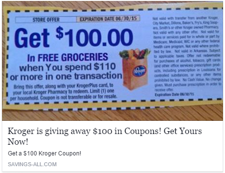 Kroger is not giving away a free $100 Kroger Coupon (Scam)