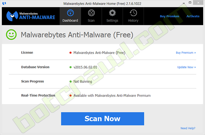 Malwarebytes scan now