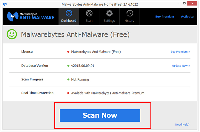 Malwarebytes scan for SideBar Dock