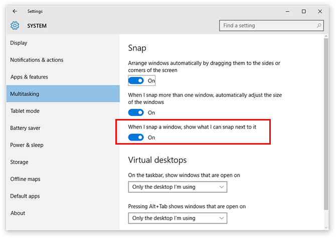 "How to turn off ""When I snap a window, show what I can snap next to it"" on Windows 10"