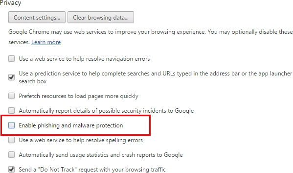 disable Google Chrome phishing and malware protection