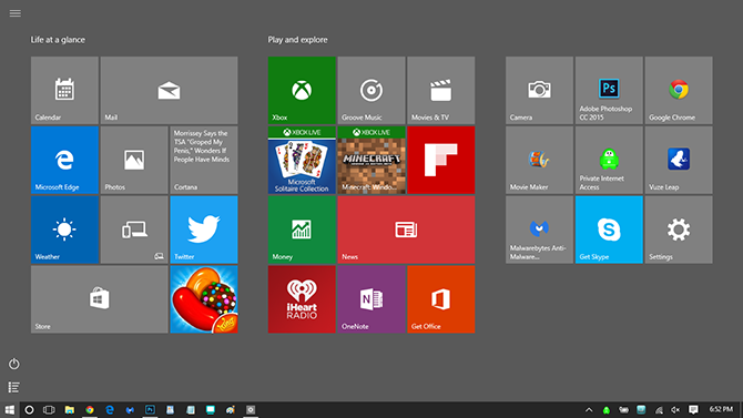 full screen windows 10 start menu