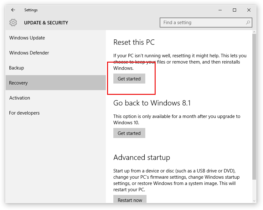 settings in windows 10
