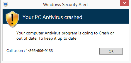Your PC Antivirus crashed pop-up