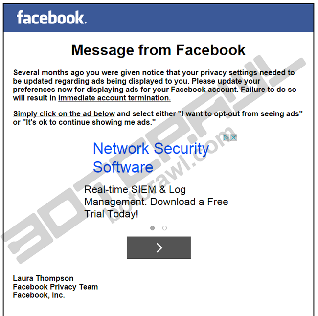 fake Message from Facebook webpage