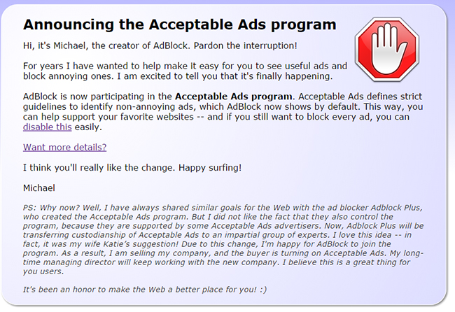 Announcing the Acceptable Ads program for the AdBlock extension