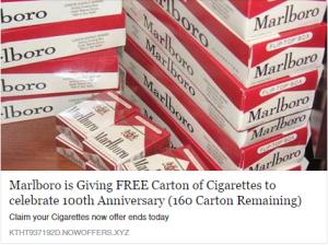 Marlboro carton facebook scam