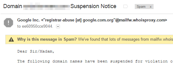 fake Google Domain Suspension Notice emails