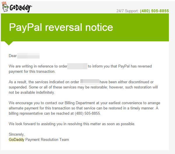godaddy reversal notice