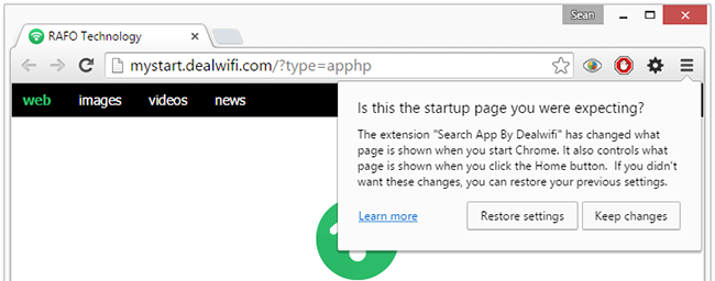 remove Search App By Dealwifi extension