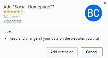 Social Homepage virus