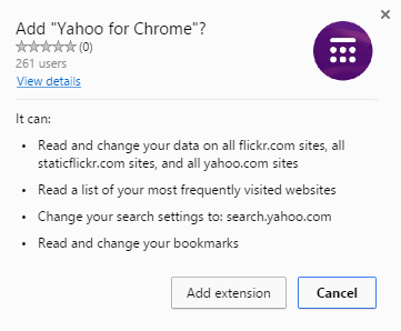 Yahoo for Chrome permissions