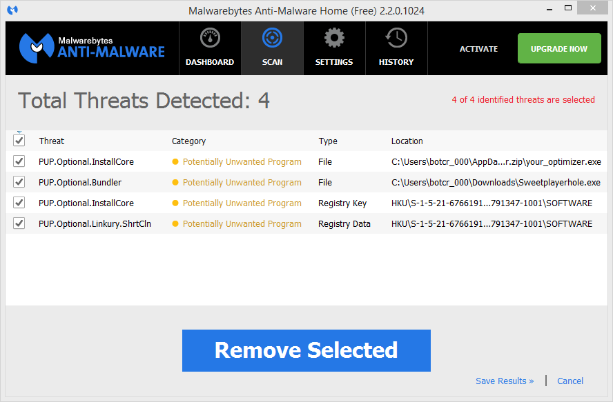 Your Optimizer malwarebytes