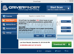 driverfinder pop-up