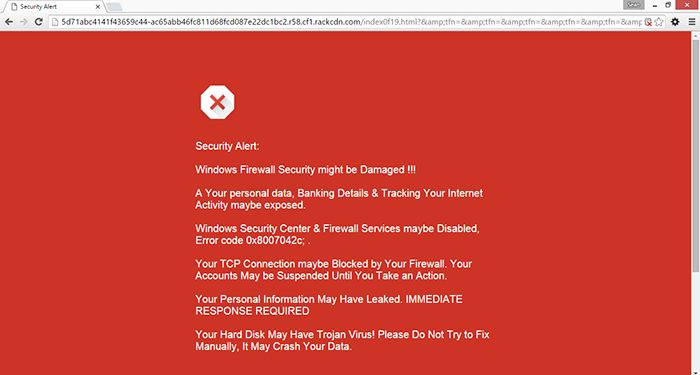 security alert pop-up message