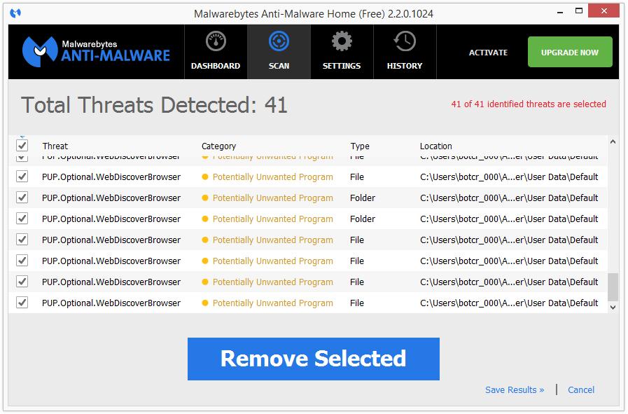 WebDiscover Browser malwarebytes