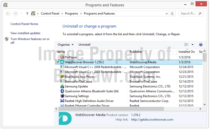 uninstall webdiscover browser